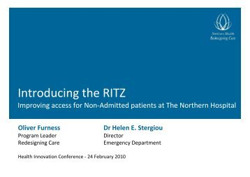 Introducing the RITZ - Department of Health