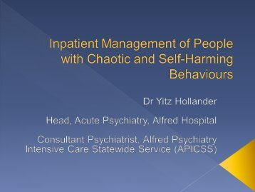 Inpatient Management of Persons with Chaotic and Self-Harming ...