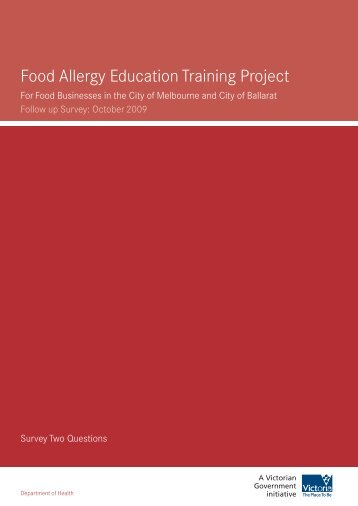 Food Allergy Education Training Project - Department of Health
