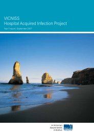 VICNISS - Hospital Acquired Infection Project - Department of Health
