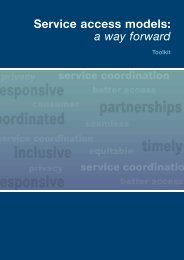 Service access models: a way forward Toolkit - Department of Health