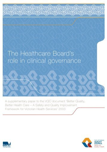 The Healthcare Board's role in clinical governance - Department of ...