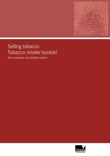 Selling tobacco Tobacco retailer booklet - Department of Health