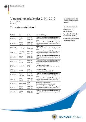 Veranstaltungskalender 2. Halbjahr 2012 ... - Bundespolizei