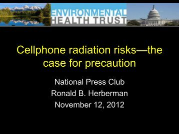 Cellphone radiation risks - Collaborative on Health and the ...