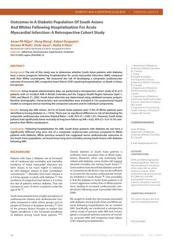 Outcomes In A Diabetic Population Of South Asians And Whites ...