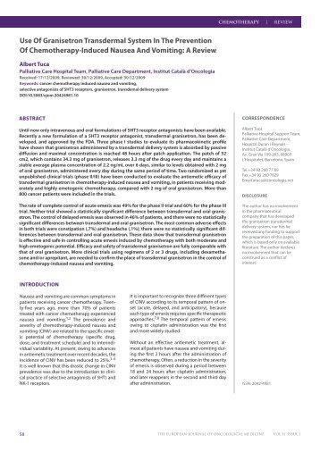 Use Of Granisetron Transdermal System In The Prevention Of ...