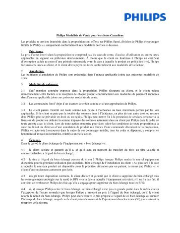 PHILIPS TERMS AND CONDITIONS OF SALE - Philips Healthcare
