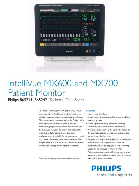 IntelliVue MX600 and MX700 Patient Monitor - Philips Healthcare