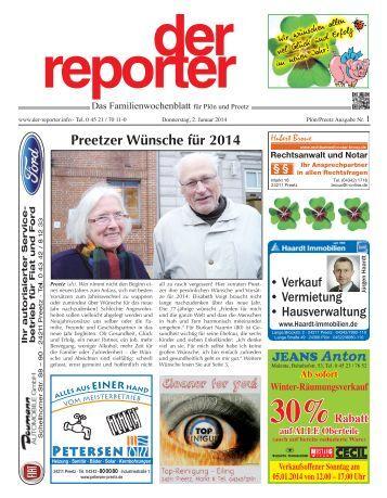 der reporter - Das Familienwochenblatt für Plön und Preetz 2014 KW 01