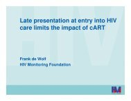 Late presentation at entry into HIV care limits the impact of cART