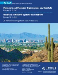 Physicians and Physician Organizations Law Institute - American ...