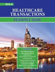 HealtHcare transactions - American Health Lawyers Association