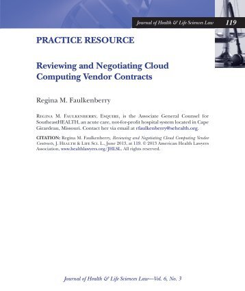 Reviewing and Negotiating Cloud Computing Vendor Contracts