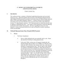 f. medicaid supplemental payments and financing issues