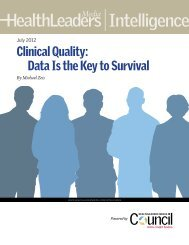 Clinical Quality: Data Is the Key to Survival - HealthLeaders Media