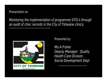 Monitoring the implementation of programme STG's through an audit ...