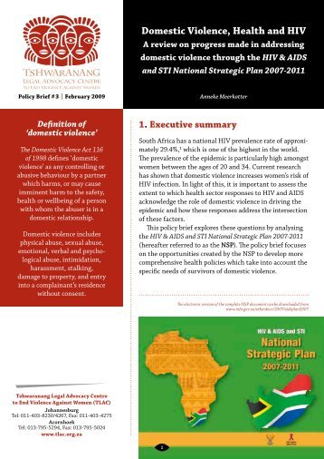 Domestic Violence, Health and HIV - Tshwaranang Legal Advocacy ...