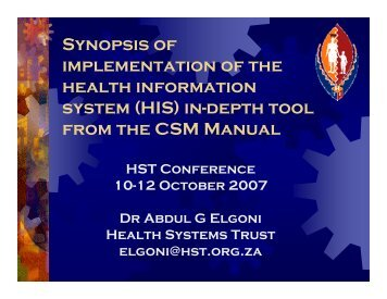 Synopsis of implementation of the health information system (HIS) in ...