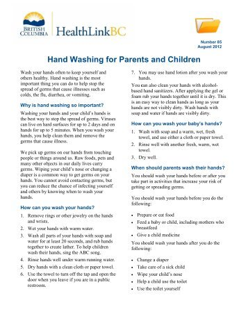 Hand Washing for Parents and Children - HealthLinkBC File 85 ...