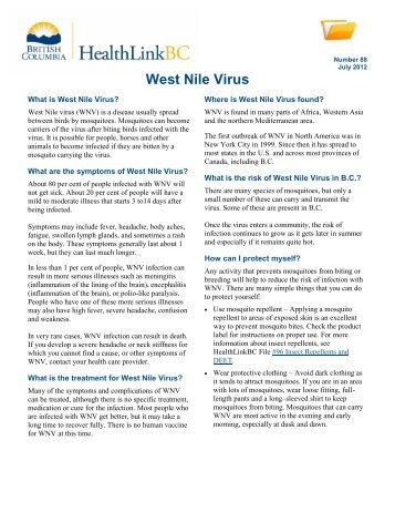 West Nile Virus - HealthLinkBC