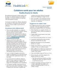 Des collations santé pour les adultes - HealthLinkBC