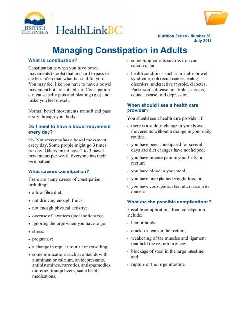 Managing Constipation in Adults - HealthLinkBC