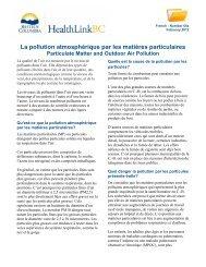 La pollution atmosphérique par les matières ... - HealthLinkBC