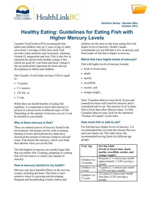 Healthy Eating: Choose Fish Low in