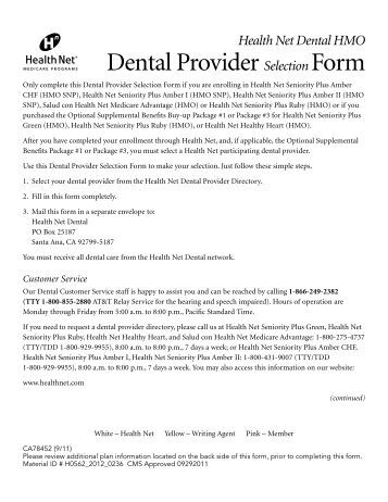 Dental Provider Selection Form - Health Net