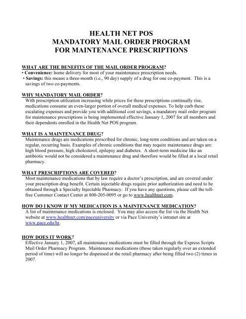 HEALTH NET POS MANDATORY MAIL ORDER PROGRAM FOR