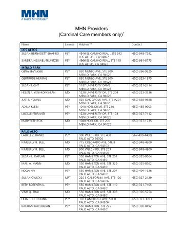 MHN Providers (Cardinal Care members only) - Health Net