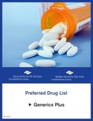 Preferred Drug List Generics Plus - Health Plan of Nevada