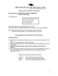 NEUROLOGY REFERRAL GUIDELINES - Health Plan of Nevada
