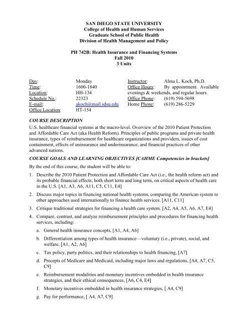 Sdsu Health Insurance >> Ph 742b Koch F10 Pdf Graduate School Of Public Health Sdsu