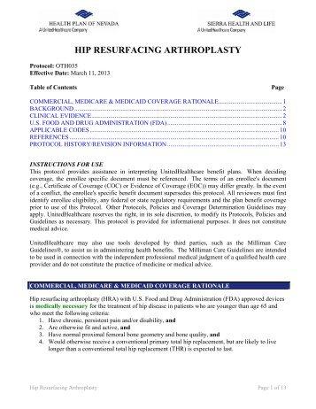 hip replacement surgery arthroplasty health plan of nevada rh yumpu com