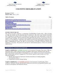 COGNITIVE REHABILITATION - Health Plan of Nevada