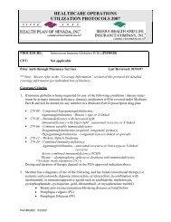 healthcare operations utilization protocols 2007 - Health Plan of ...