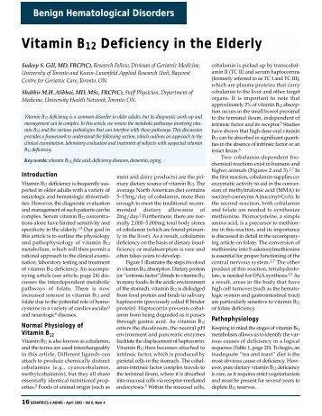 Vitamin B12 Deficiency in the Elderly - HealthPlexus.net