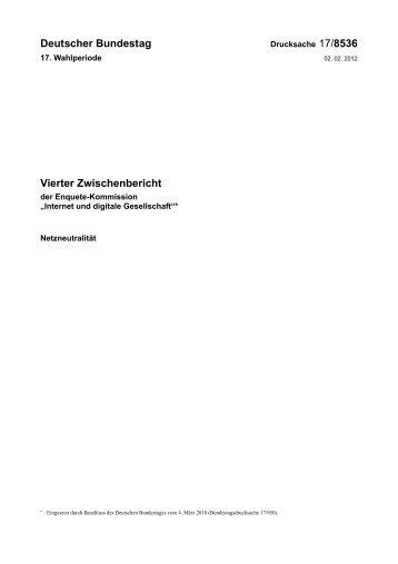Deutscher Bundestag Vierter Zwischenbericht
