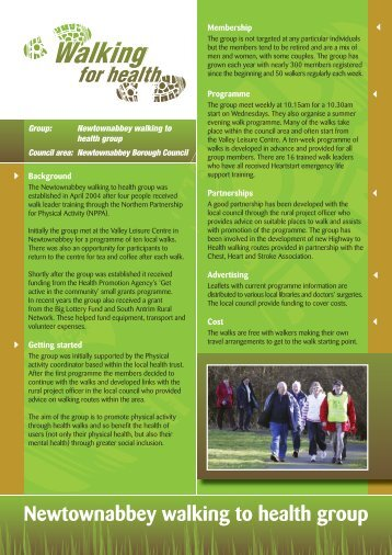 Newtownabbey walking to health group - Health Promotion Agency