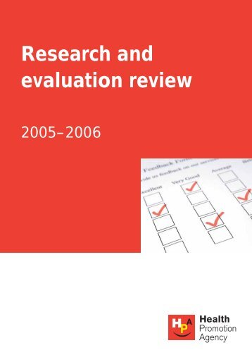 Research and evaluation review - Health Promotion Agency