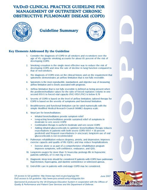 COPD SumFinal - VA/DoD Clinical Practice Guidelines Home