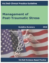 VA/DoD CLINICAL PRACTICE GUIDELINE FOR THE ...