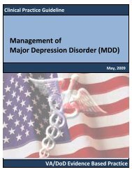 Clinical Practice Guideline for the Management of Major Depressive