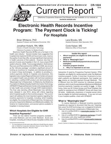 Electronic Health Records Incentive Program: The Payment Clock is ...