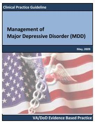 MDD Full Text - VA/DoD Clinical Practice Guidelines Home
