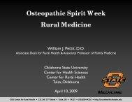 Osteopathic Spirit Week Rural Medicine - Oklahoma State University ...