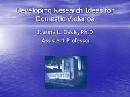 Developing Research Ideas for Domestic Violence - Oklahoma State ...
