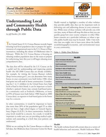 Understanding Local and Community Health through Public Data